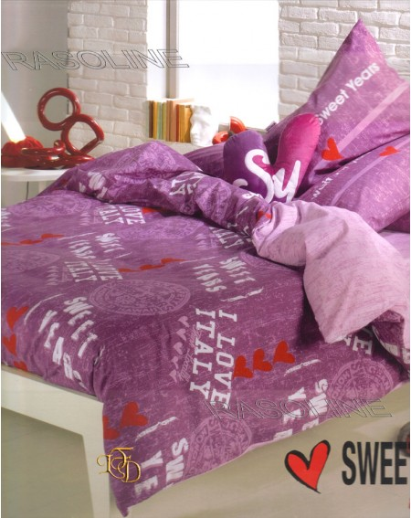 COMPLETO LENZUOLA UNA PIAZZA SWEET YEARS FOR YOU COLORE ORCHIDEA - LILLA CALEFFI