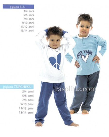 Pigiama Lungo Tuta Blu Sweet Years Caleffi 3-10Anni