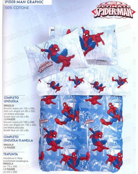 Single Bed SET Flat, fitted sheet Spider-man Wall