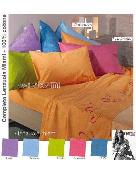 Garnitur Bettlaken einzelbett maße Sweet Years Miami Farbe Himmelblau