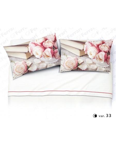Completo Lenzuola Matrimoniale Romantique Caldo Cotone Rose Rosa Digitale Avorio Flanella