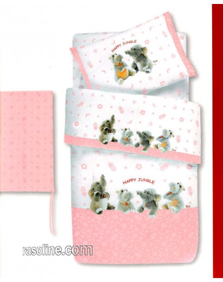 Kinder Steppdecke und Nestchen für Kinderbett Con Le Sponde Farbe Rosa Happy Jungle Trudi