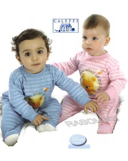 Tutina Winnie Pooh Pigiama Disney Caleffi Taglie 9 -12 -18 Mesi Colore Azzurro