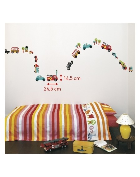 Wall sticker for boys fire truck, racing cars, police car, delivery van 42 stickers