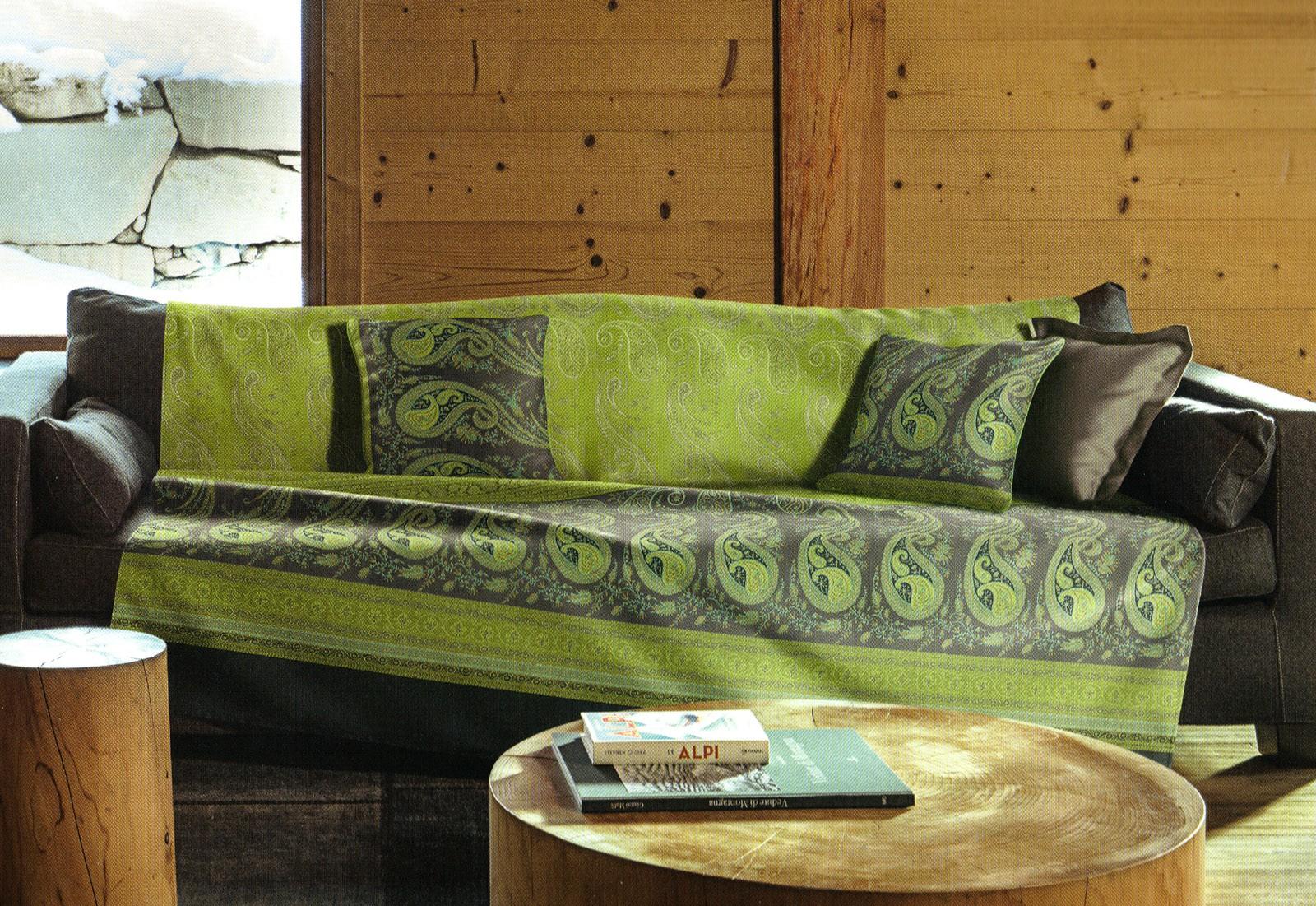 Plaid imbottito scauri verde grigio calda coperta divano for Granfoulard per divano