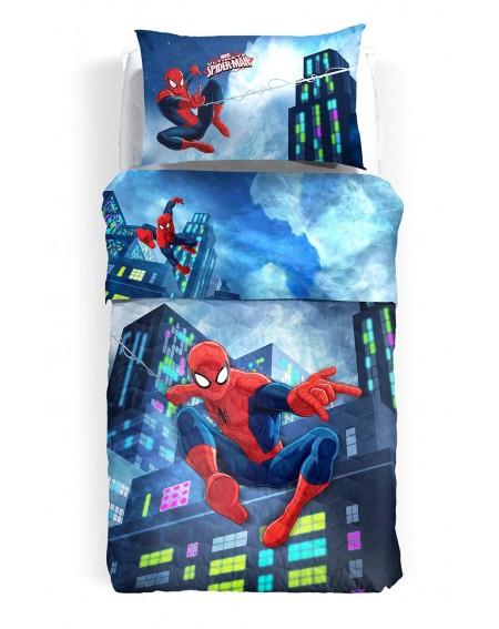 Single Bed SET Flat sheet, pillowcases Spiderman Lights