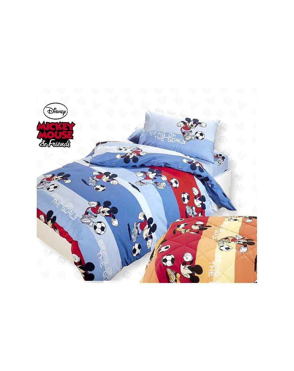 mickey mouse calcio in puro cotone raso line l f d home. Black Bedroom Furniture Sets. Home Design Ideas