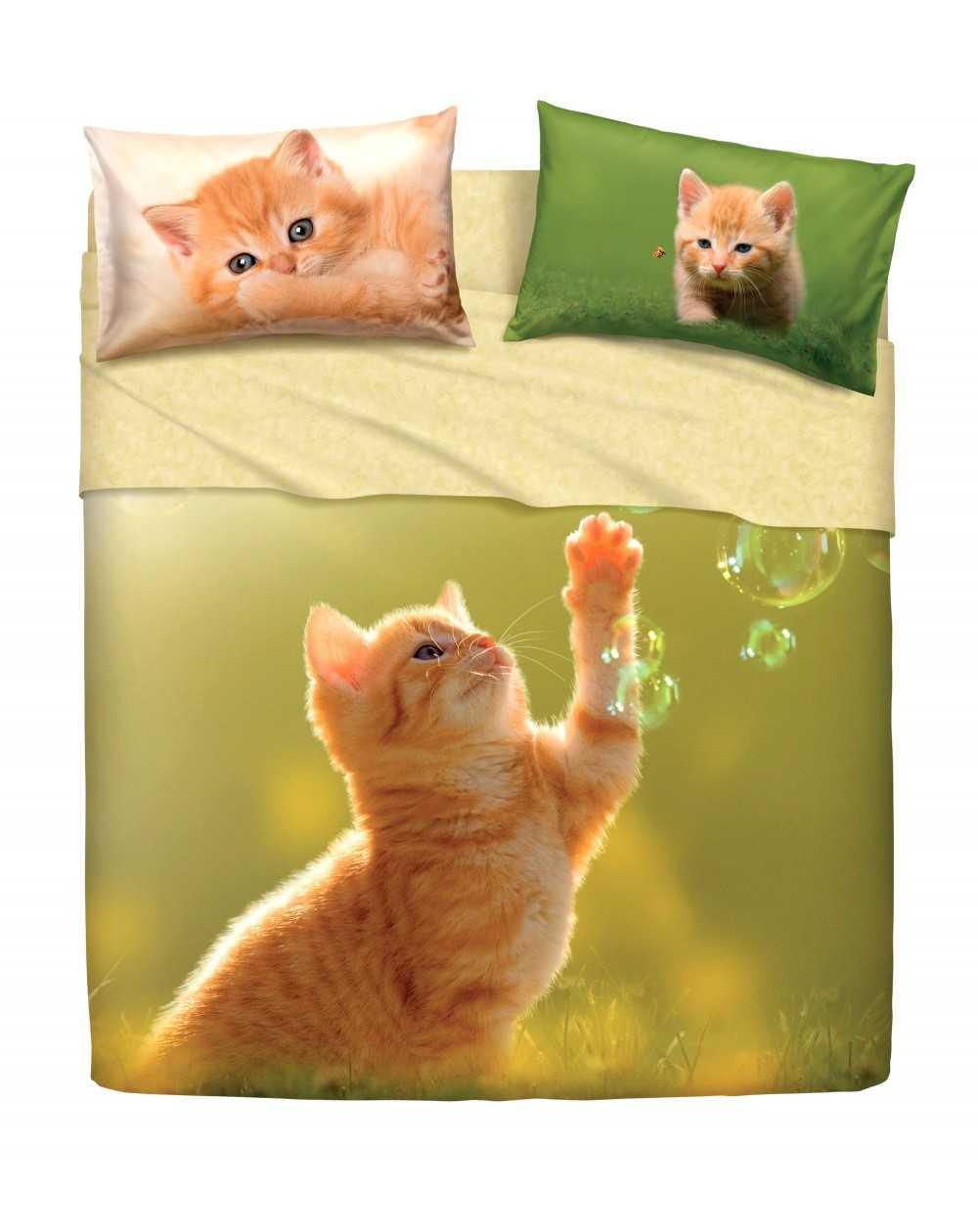 Copripiumino Singolo Bassetti Animali.Completo Lenzuola Copriletto Una Piazza E Mezza Play Cats By Bassetti