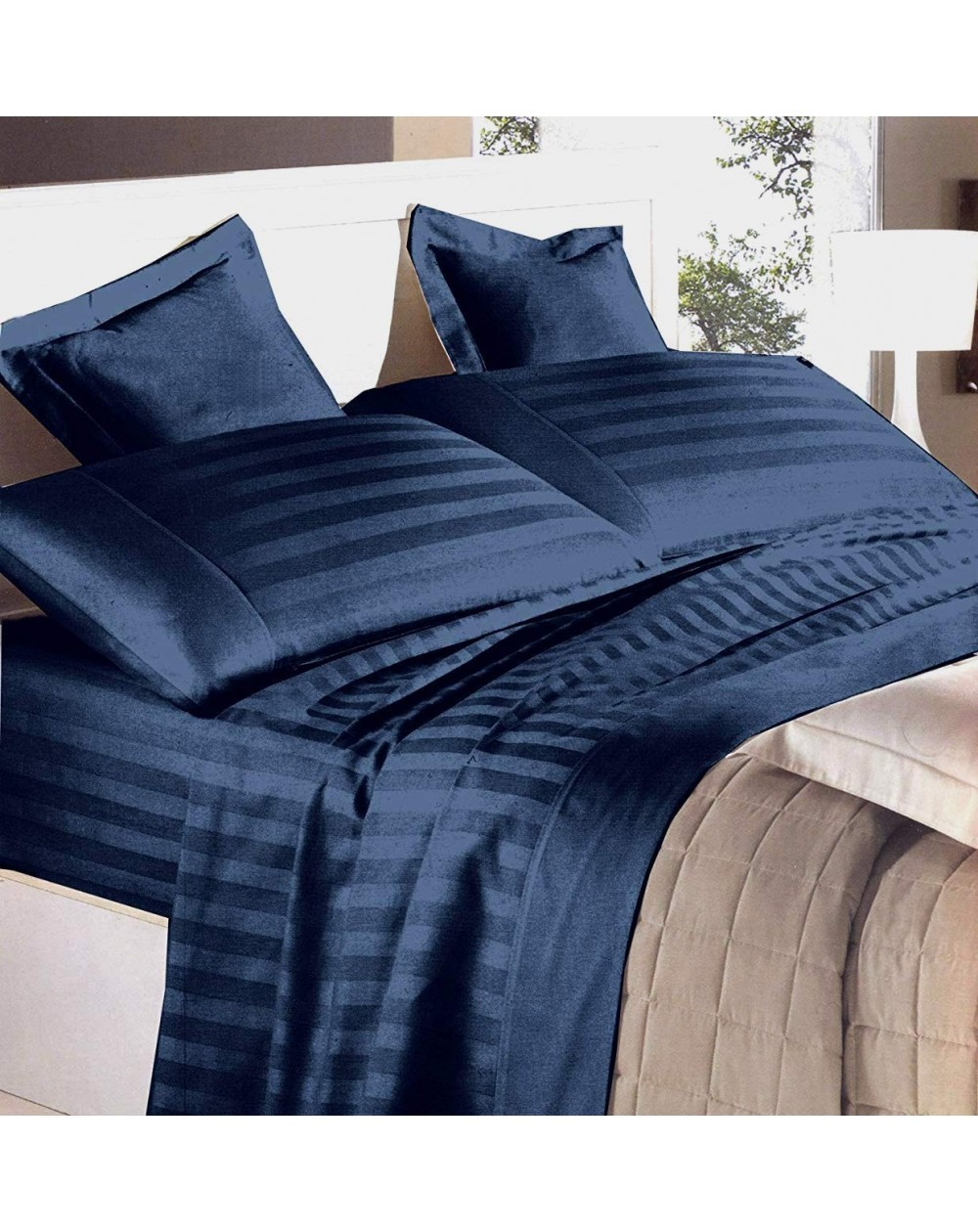 Lenzuola Di Raso Matrimoniali.Garnitur Bettlaken Doppelbett Baumwolle Italia Blu Navy