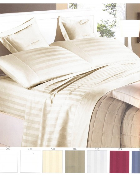 Ivory Sheet Set in Pure Cotton Satin with Stipes for King size bed or Super King size bed Italia