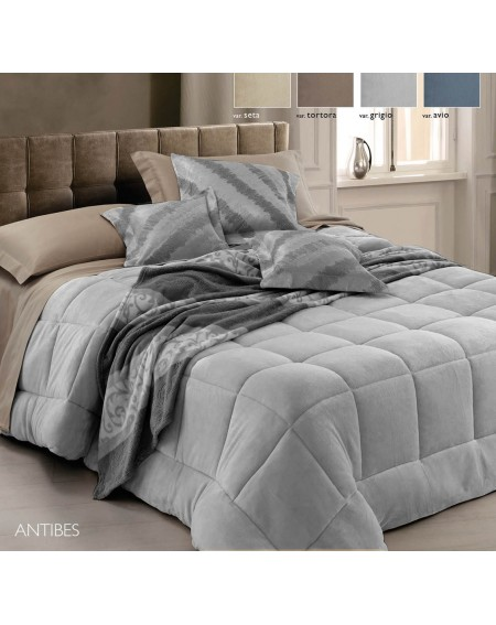 Couette d'hiver 220x260 Antibes Velours Gris Edredon