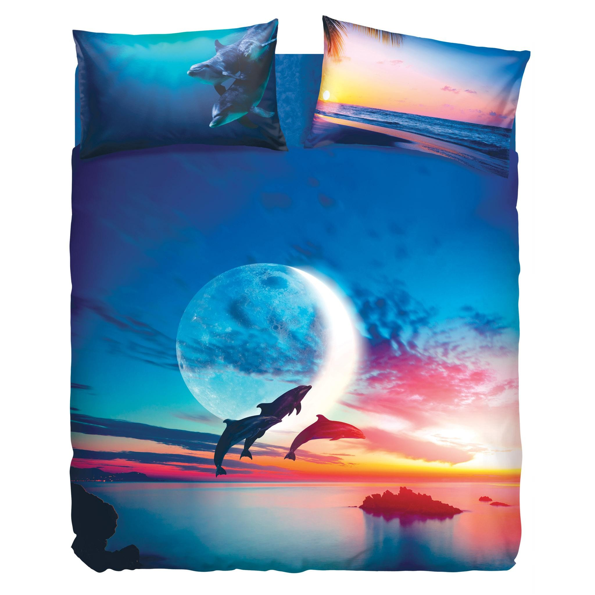 Copripiumino Bassetti.Set Duvet Cover Bed Sheets Jump Dolphins Imagine Landscape