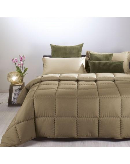 Winter Quilt Comforter Modern Double face Taupe Caleffi 260x260cm