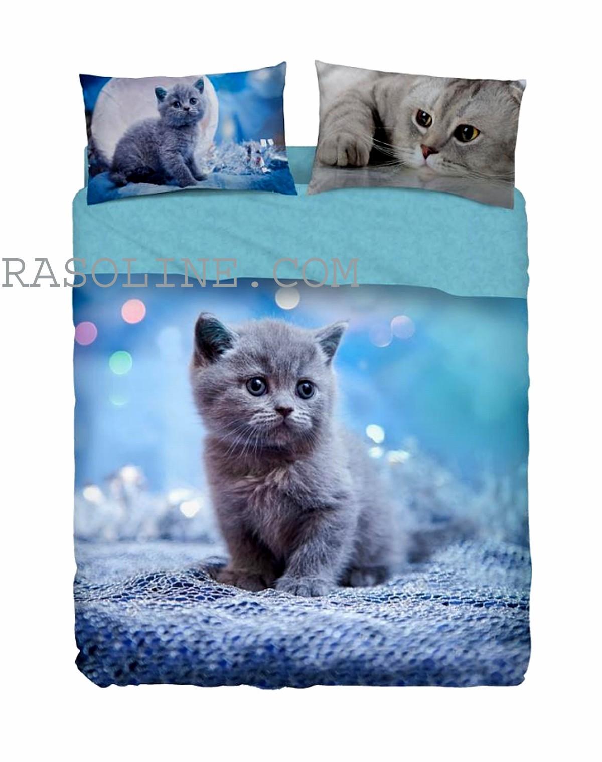Lenzuola Matrimoniali Bassetti.Complete Bedding Bedspread Double Softness Kitten Blue Bassetti Ebay