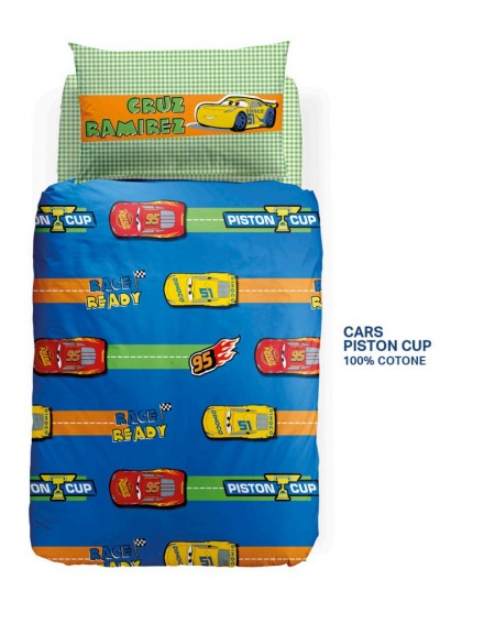 Duvet Set - a fitted sheet, duvet cover SINGLE BED Cars Piston Cup