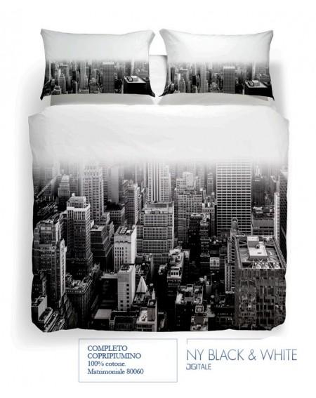 Completo Copripiumino due piazze NY Black & White Digitale Carmassi Caleffi