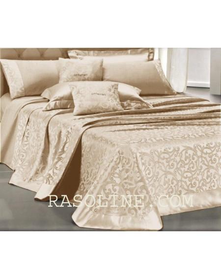 Bettüberwürfe Damascato doppelbett Copri Iris Farbe Beige