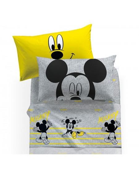 Parure de lit pour lit 1 personne Set Draps Mickey