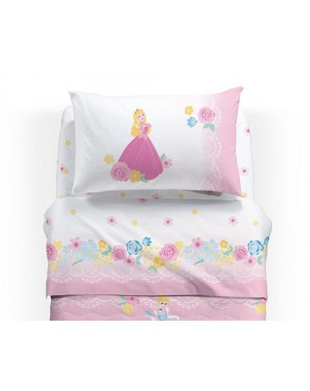 Set Lenzuola Flanella Principesse Biancaneve Aurora Rosa 1 Piazza Caleffi Disney