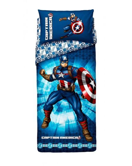 Completo Lenzuola Copriletto Una Piazza Captain America The Avengers Bassetti