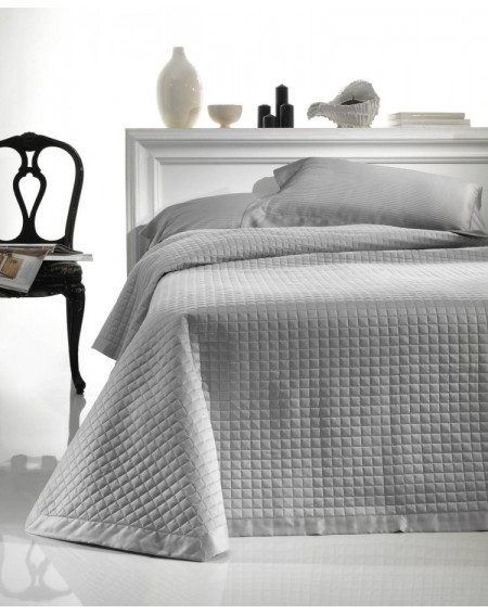 Quilted Bedcover Coton Satin Grey Elegance
