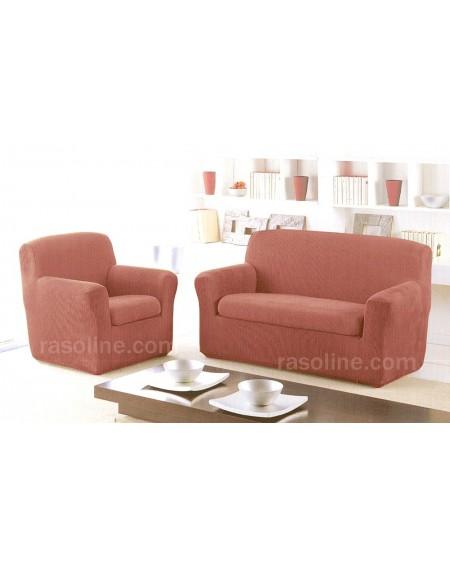 Copridivano + Copricuscino 2 Posti Colore Rosa Antico Poncho Duo London By Gabel 100 X 170 Cm