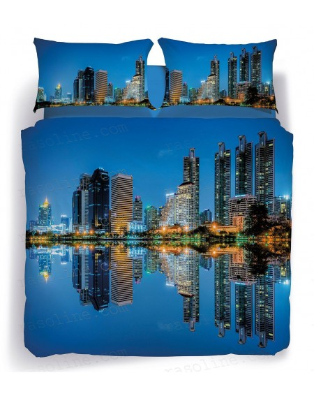 Duvet cover - Fitted sheet with elasticated corner Quality cotton bed linen Bangkok skyline Marco Carmassi