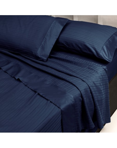 Juego de Sábanas completas, cama de 150x200 a 180x200, en puro algodón satinado Azul Italia, rayas 2.5cm