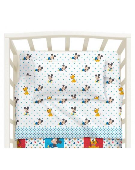 Baby-Bettwäsche Garnitur Spannbettlaken Spannbetttuch Mickey