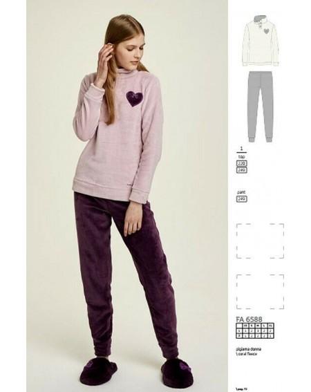 Traje de pijama de micropilo recortado Fleece Tortora Noidinotte POIS