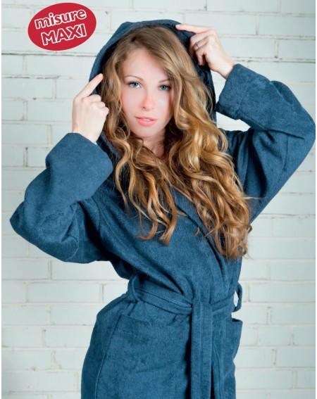Albornoz azul sólido con capucha azul