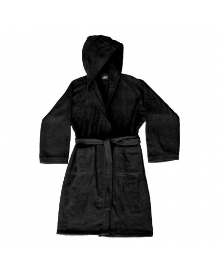 Black bathrobe with hood