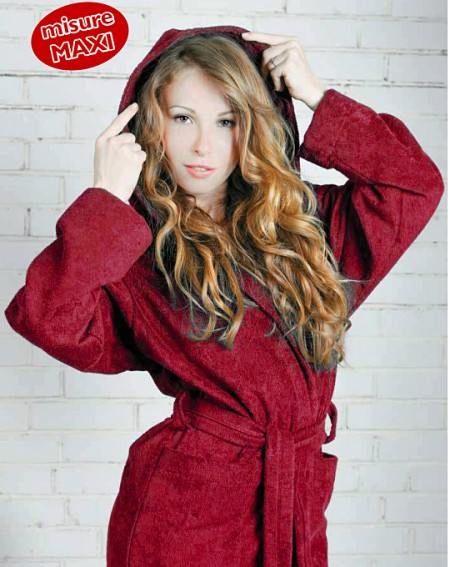 Red bathrobe with hood