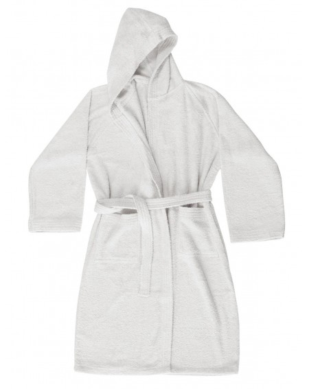 White bathrobe with hood