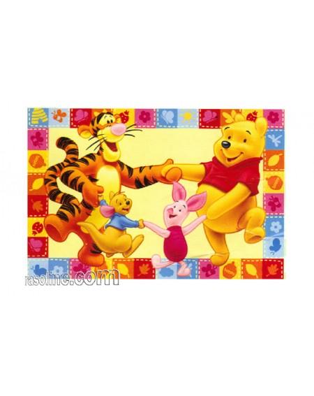 """Tappeto  """" Winnie The Pooh E Amici """"  Girotondo  Misure:  170 X 100 Cm"""
