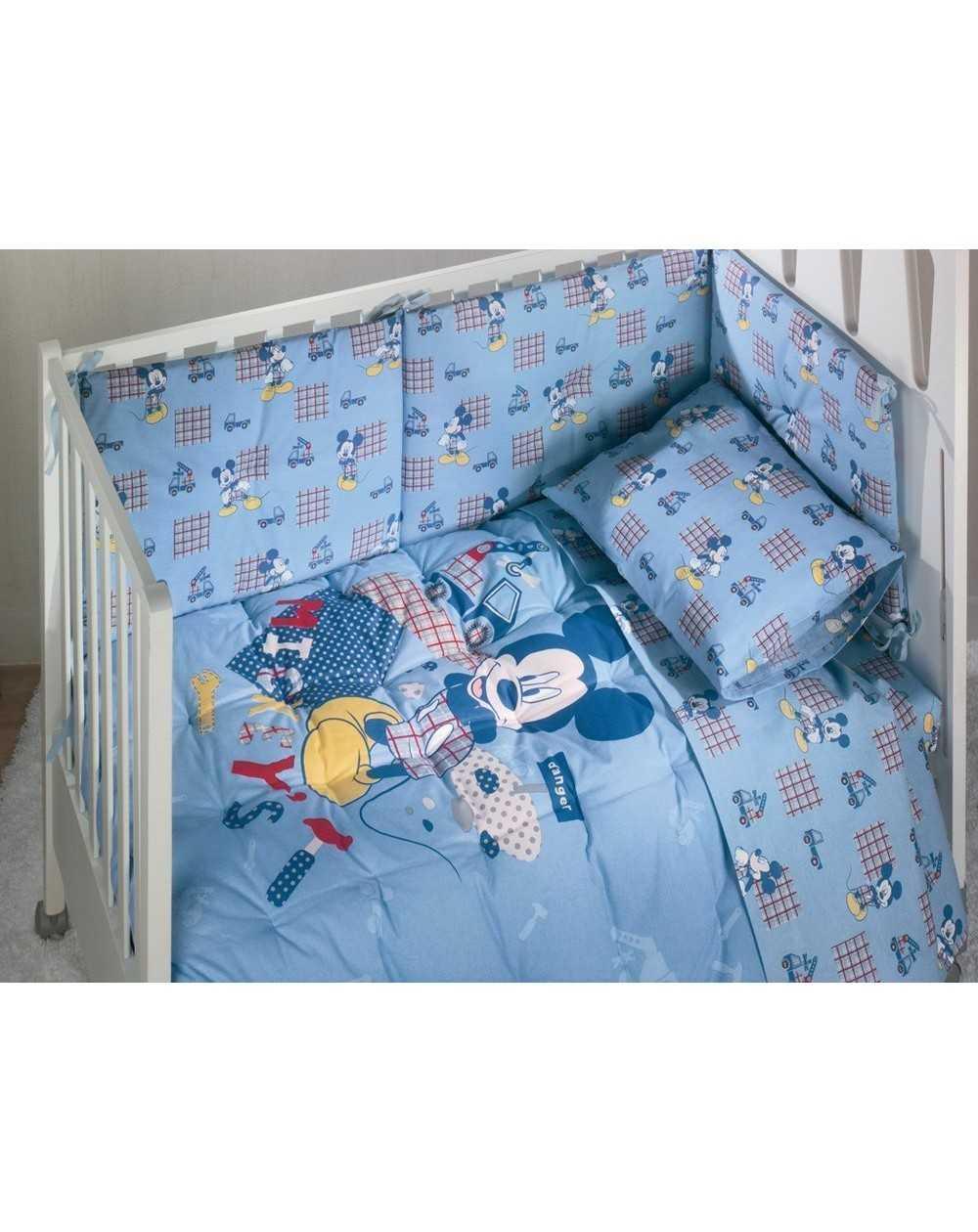 Completo Lenzuola Lettino Baby Neonato Topolino Mickey Azzurro ...