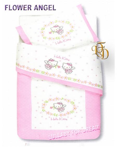 Bettüberwürfe in Piquet Hello Kitty Flower Angel decke Babybett Beby Neugeborene Gabel