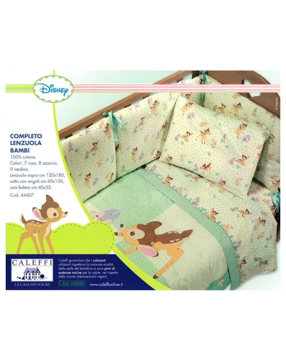 Completo Lenzuola Per Lettino Bambi Caleffi Disney Colore Rosa ...