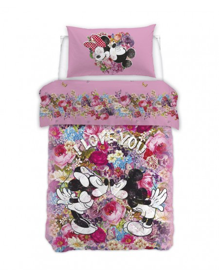 """Single Bed SET Flat sheet, fitted sheet, pillowcases Minnie """" Love """""""