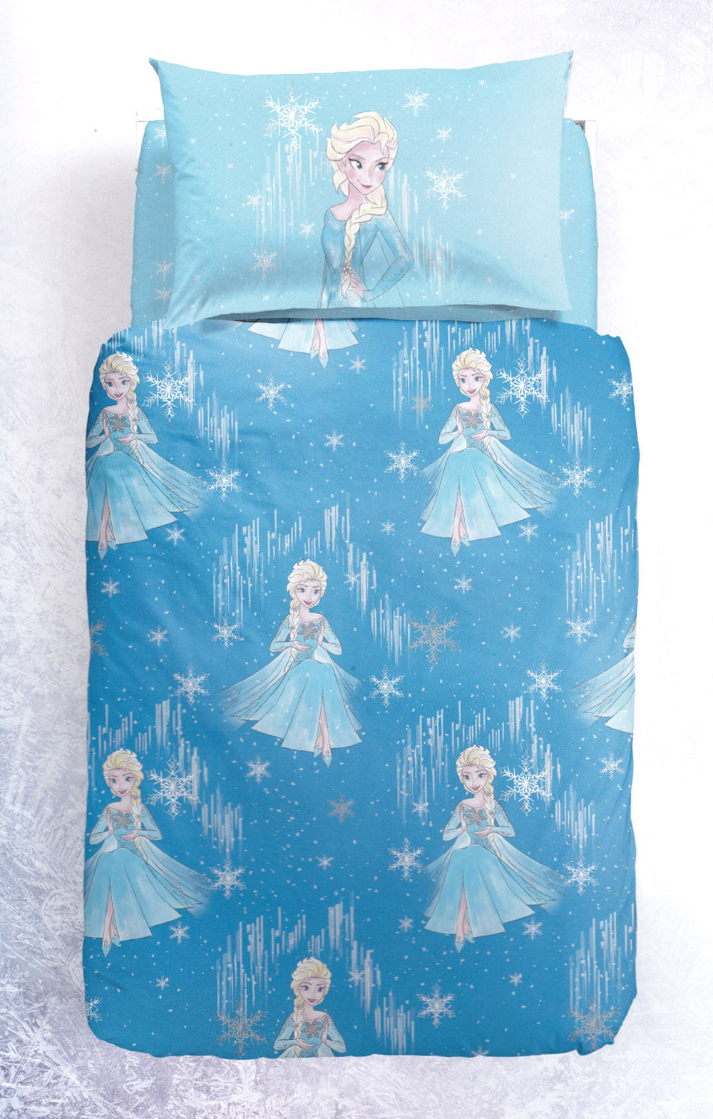 Copripiumino Elsa Frozen.Duvet Cover Set Bedding Princesses Frozen Elsa Snow Blue Disney
