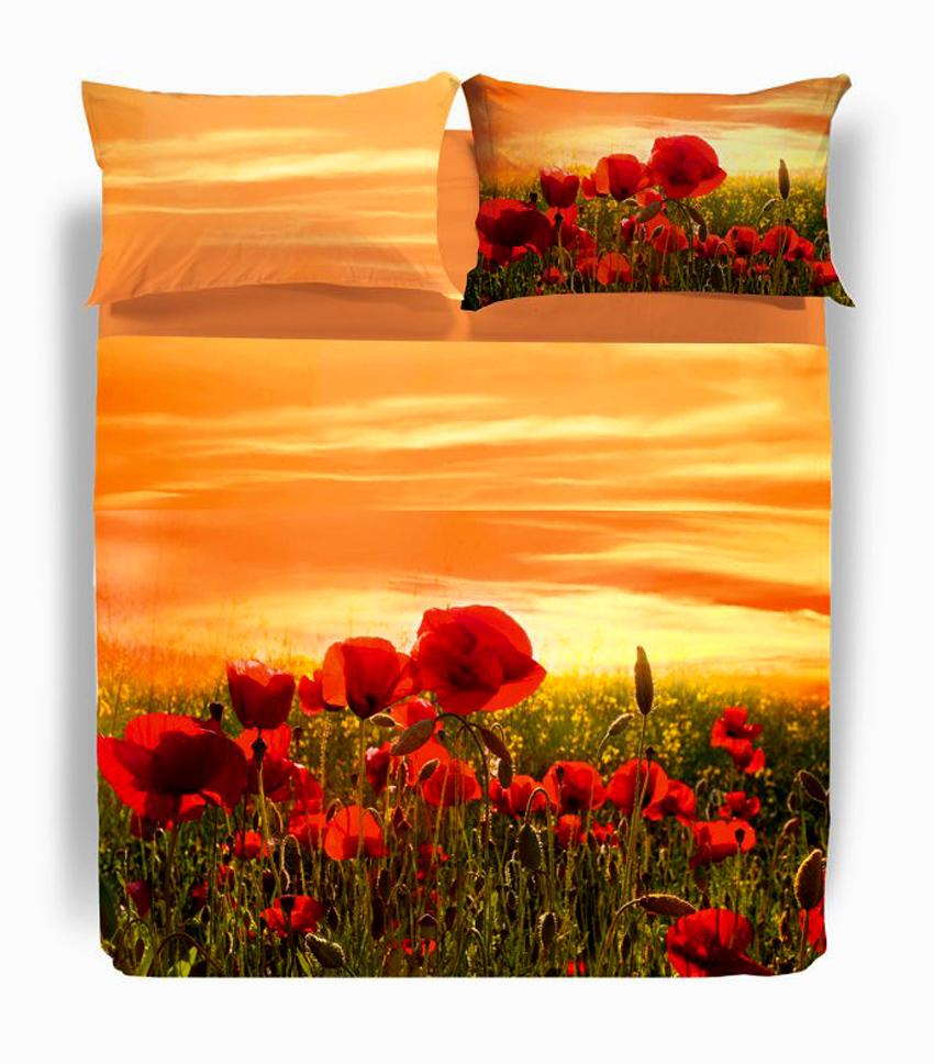 Completo lenzuola copriletto matrimoniale papaveri arancio carmassi caleffi ebay - Copriletto matrimoniale rosso ...